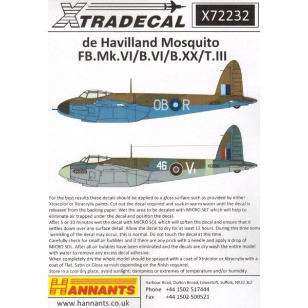de Havilland Mosquito T Mk.III, B Mk.IV, FB Mk.VI, B Mk.XX (13) Mosquito T.Mk.III TV970 FK-V20 Sqn RA Wittenau 1946 - T.3 VT588