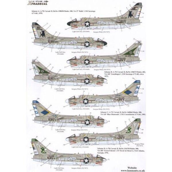 Bunte USN Vought A-7B / E Corsair II Teil 1 (4) A-7B 154370 AF / 500 VA-205 Grün Falcons NAS Atlanta 1976a-7E 158.830 AC / 300 V