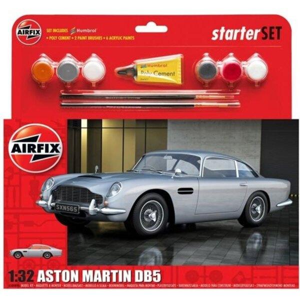 Aston Martin DB5 Silber mit 6 Acrylfarbe und Klebstoff und 2 Pinsel