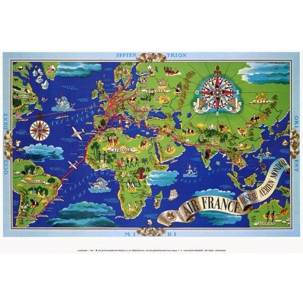 Air France - Blue World Map - Lucien Boucher 1937
