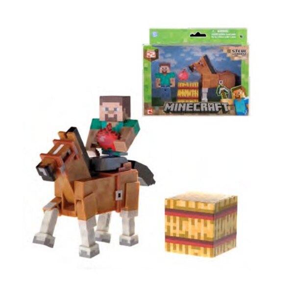 Minecraft Actionfigur Steve & Chestnut Horse 8 cm