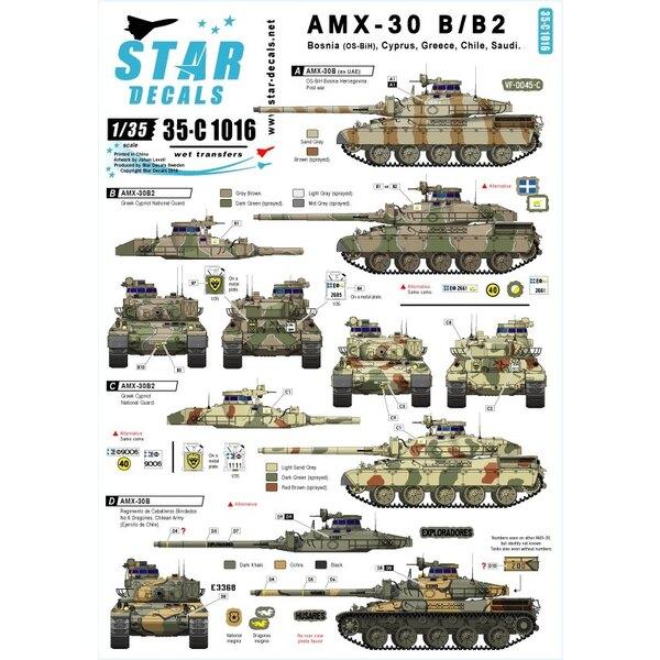 Internationale AMX-30B und AMX-B2.Bosnien, Griechenland, Zypern, Chile, Saudi.[AMX-30B2 Französisch Kampfpanzer]
